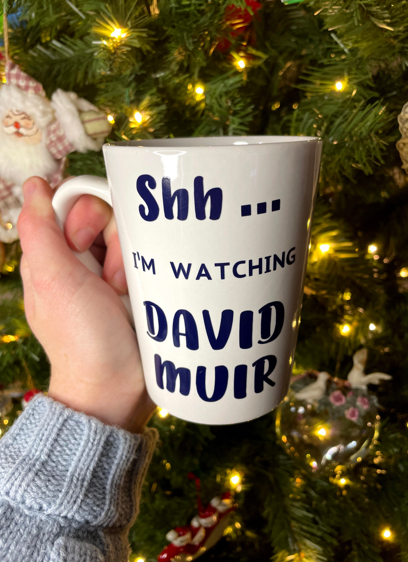 DIY David Muir Mug: Unique Gift for the News Fiend in Your Life.