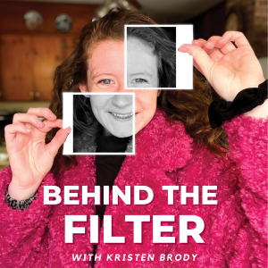 "Girl in pink coat, holding black and white polaroids. Text overlay that states ""Behind the Filter with Kristen Brody"""