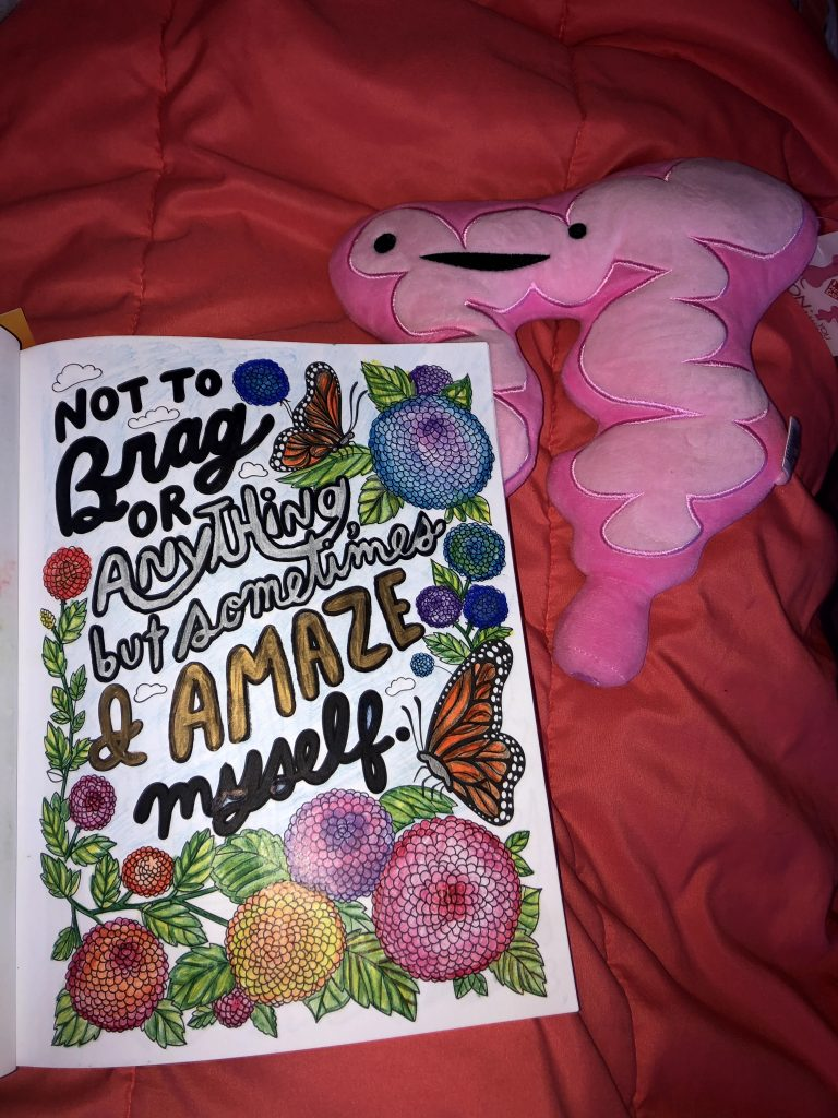"""Chronic illness coloring book, with flower and butterfly illustration surrounding quote: """"Not to brag or anything but sometimes I amaze myself."""" Coloring book is lying on coral blanket with a pink stuffed pillow shaped like a colon with a smiley face on it."""